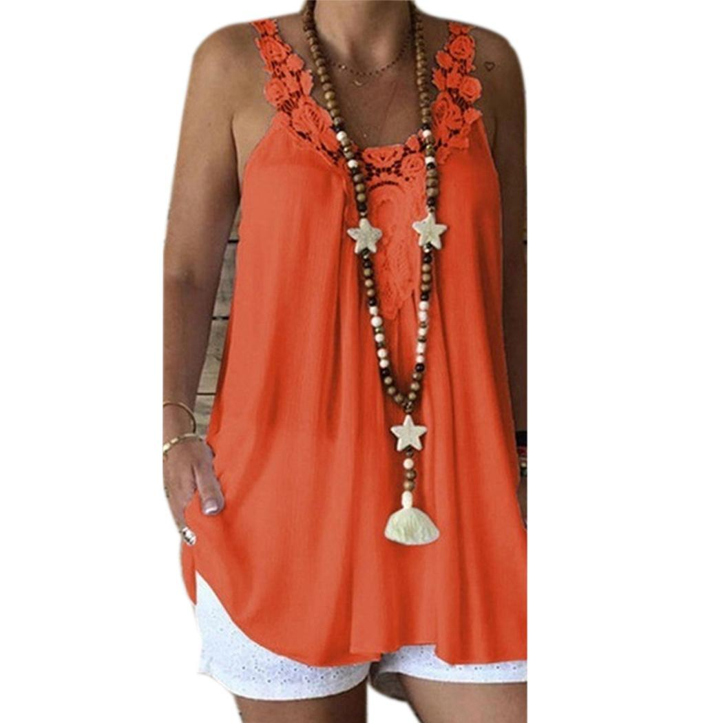 Women Casual Floral Sleeveless Loose Cami Hollow Out Summer Tank Tops O Neck Regular(China)