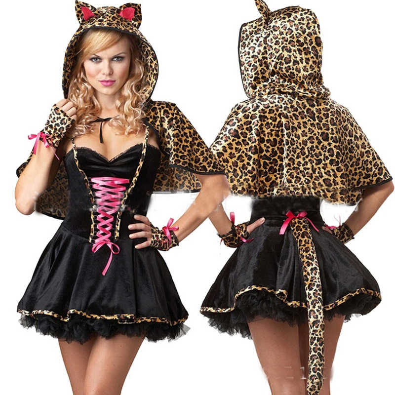 ハロウィン新しい山猫コスプレアニマル毛深いプレイ衣装制服セクシーなヒョウ猫ドレスステージ衣装テールドレス