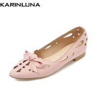 KarinLuna Women S Quality Slip On Hollow Comfortable Bow Pointed Toe Flats Spring Summer Shoes Woman