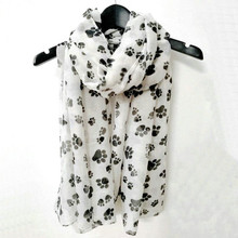 KLEEDER New Fashion Womens Spring Scarf Shawl Sweet Black White Printed Cartoon Dog Paws Graffiti Style for Girls