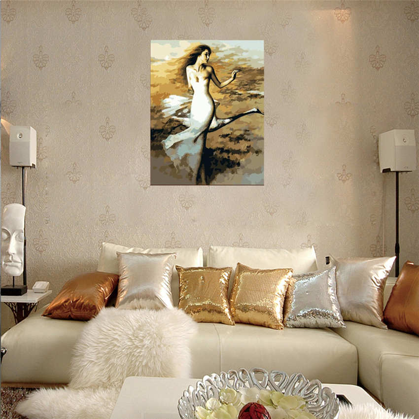 RIHE Charming Girl Diy Painting By Numbers Wind Oil Painting Cuadros Decoracion Acrylic Paint On Canvas Modern Wall Art in Painting Calligraphy from Home Garden