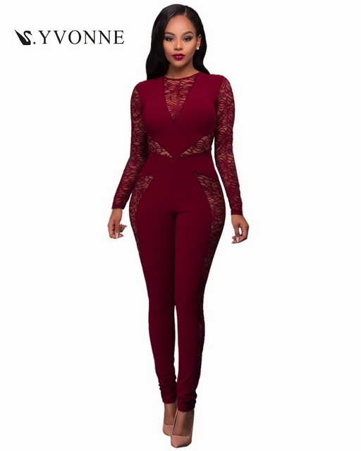 aa621664307 Women Sexy Summer Elastic Jumpsuit Lace Patchwork O-Neck Long Sleeves  Zipper Casual Bodycon Outfit Nightclub Elegant Jumpsuits