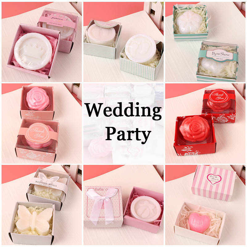 40pcs/lot Mini Scented Soap Wedding Gift Savon Party Souvenirs for Guest Designs Bathing Soaps Baby Shower Favor