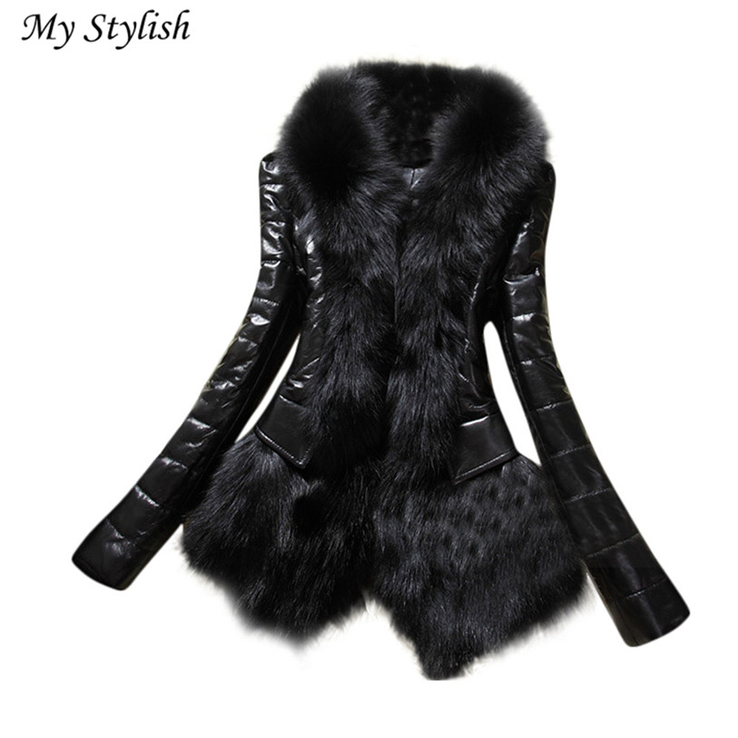 Size S-XXXL Black New Designer Women Winter Warm Fur Collar Coat Leather Thick Lady Jacket Overcoat Parka High Quality Dec 6 inc new women s size small s beige black ombre ribbed cowl neck tunic $79 355
