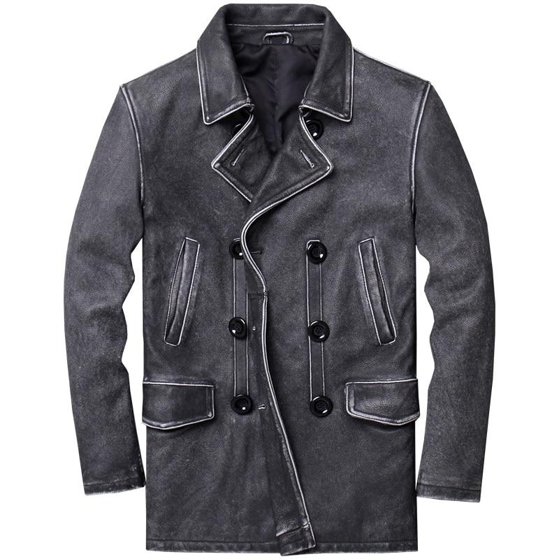 Coat Vintage Winter Genuine-Cowhide 5XL American Black Long Casual Slim Pea Natural Men