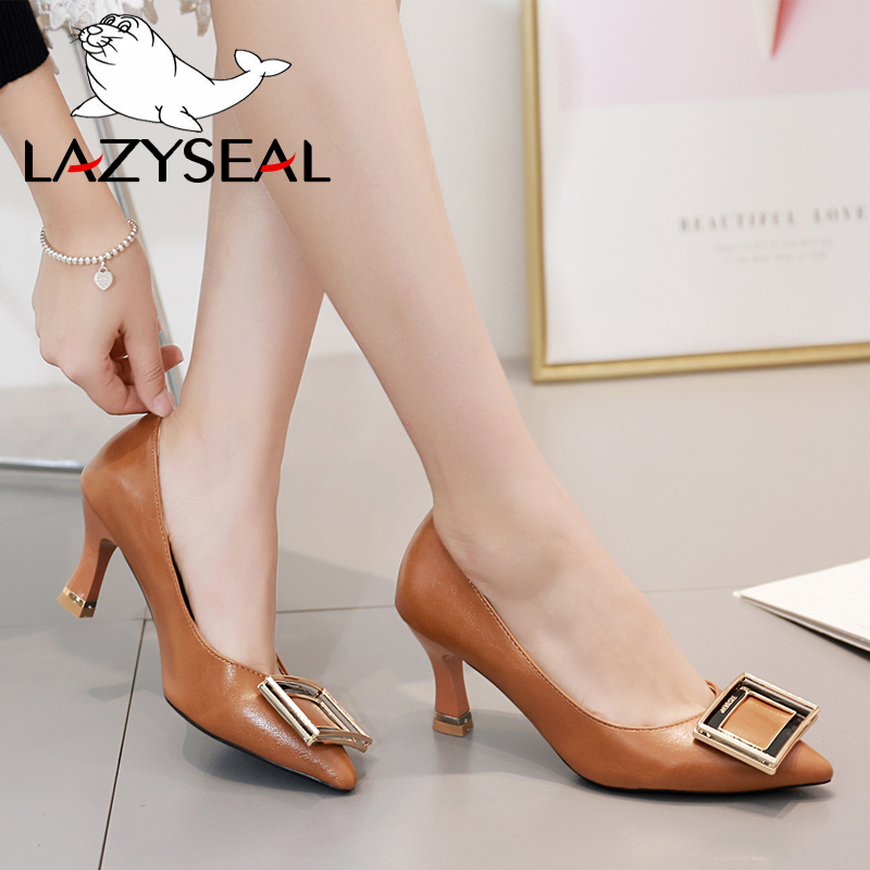 LazySeal 2019 Buckle Pumps Women Shoes Pointed Toe Slip-On Thin Heels Basic Sandals Wedding Party High Heels Classic Pump Woman