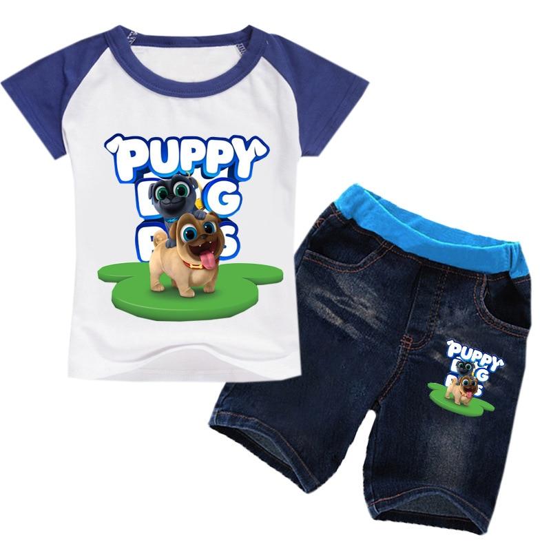 2-16Y 2019 Summer Boys Clothing Set Pet Puppy Dog Pals T-shirt Denim Shorts 2pcs Sets Clothes Toddler Clothes T Shirt Shorts Set