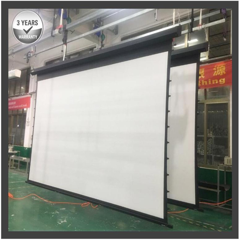 G2HCW, 200 ''16:9 4K grand écran de Projection motorisé électrique tendu par onglet avec le blanc qualifié élevé de cinéma de vinyle