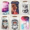 2016 Brand New Fashion Summer Animal Cat Print Shirt O-Neck Short Sleeve T Shirt Women Tops White T-shirt