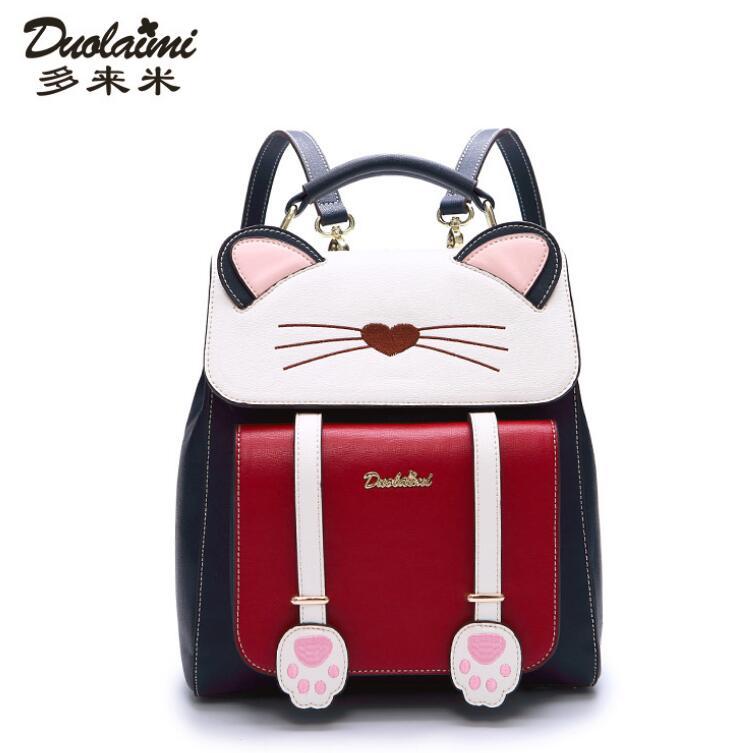 DuoLaiMi 2018 New Cat Pow Animal Shape Student Bag Book Japan and Korean Style Solid Cartoon PU Two Shoulder Backpack Women Bags duolaimi 2017 new korean backpacks