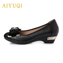 AIYUQI 2019 spring new genuine leather women shoes plus size 41#42#43# comfortable bow mother shoes casual shoes female 2018 autumn new mother casual shoes work cloth shoes women flat antiskid comfortable fashion sneakers shoes plus size 42