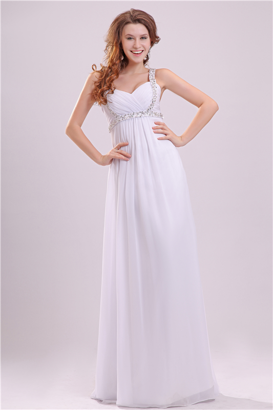 Sexy Spaghetti Straps Beach Wedding Dress 2017 Cheap Simple White Wedding Dresses Long Empire Waist Pregnant