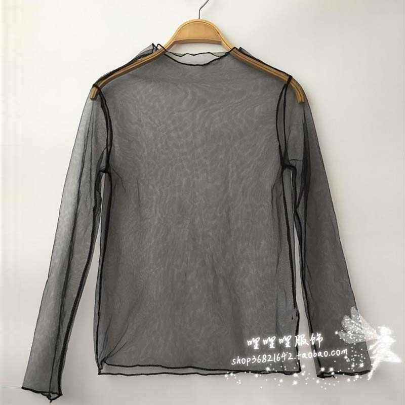 Vrouwen Sexy Solid Mesh Tops See Through T-shirt Lente Zomer Hollow Out Lange Mouwen Transparant Hemd Basis Top Femininas