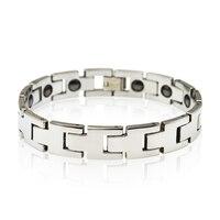 2014 New Germanium Carbide Mens Health Magnetic Tungsten Bracelet Silver BraceletsTU0017B