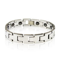 2015 Men's Fashion Jewelry Silver Tone Tungsten Carbide Friendship Bracelet with Germanium Inlaid Gift For Father Husband TU017B