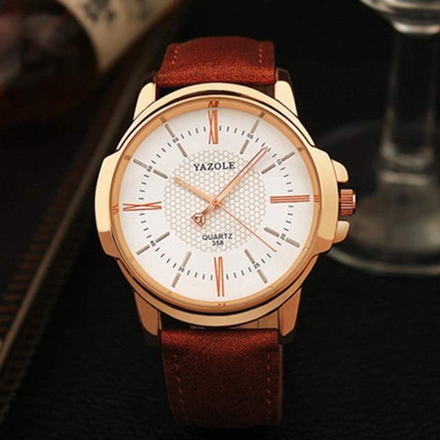 YAZOLE Top Brand Luxury Men's Watches Fashion Leather Men's Watch Men Watch Clock erkek kol saati relogio masculino reloj hombre
