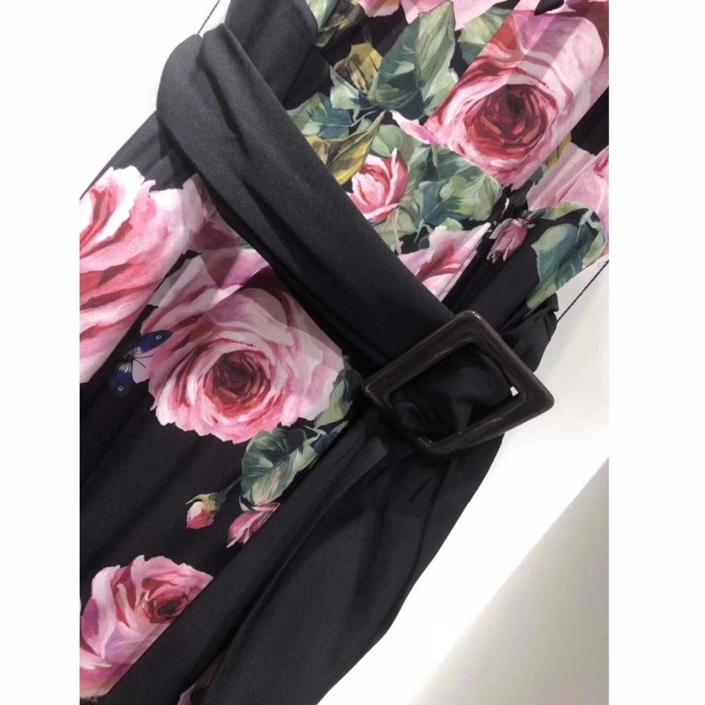D'été Femmes Arc Qualité À Fond Courtes Piste Du Impression 2018 Soie D'expansion Robe Guesod Col Haute Mince Manches Nouveau Rose EBvq50