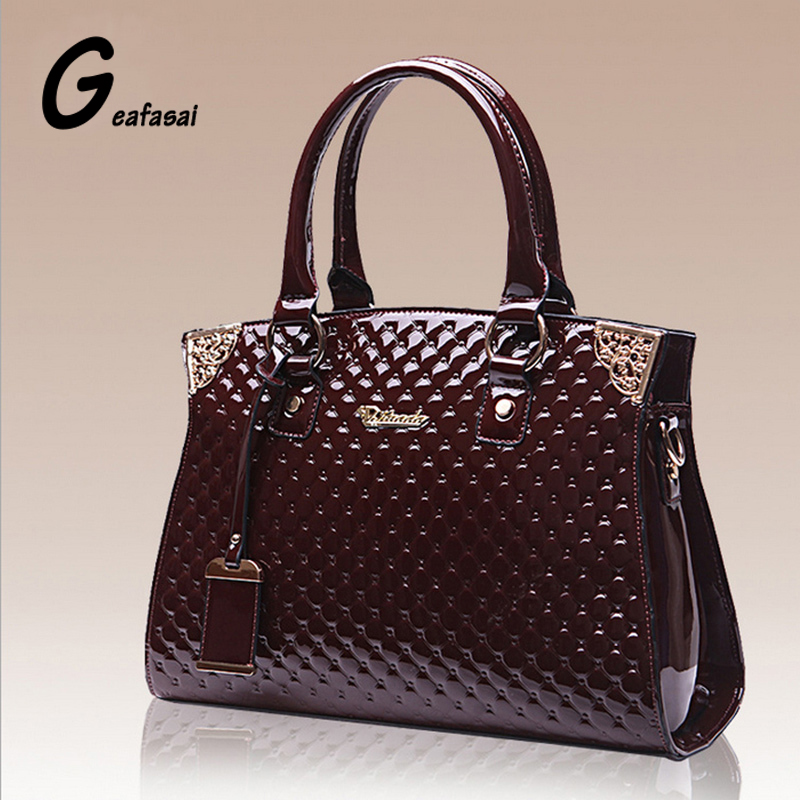 Coupon Exquisite Embossing Glossy Patent Leather Black Wine Red Lady Women Saffiano Handbag Diamond Lattice Totes