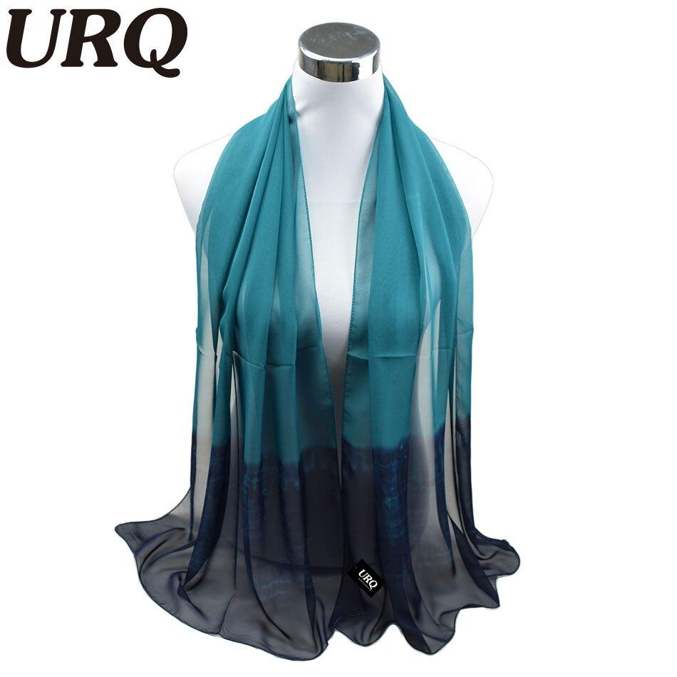 silk scarf ombre wrap solid colored scarves foulard chiffon hijab luxury brand scarf bufandas cape head - Foulard Color