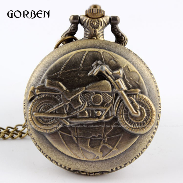 Bronze Motorcycle Pocket Watch Necklace Pendant Chain Vintage Motorbike MOTO Qua