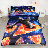 3 Parts Per Set Funny Sloth Surfing the Galaxy Bedsheet Set on Pizza Slice 3d bedding Set