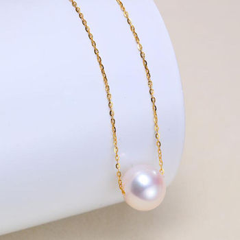 Sinya 18k gold Classical Round Pearl choker necklace with 7.5-10mm natural pearls Au750 gold chain length 40+5cm for women