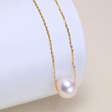 Sinya 18k gold Classical Round Pearl choker necklace with 7.5-10mm natural pearls Au750 gold chain length 40+5cm  for women [ys] 5 6mm natural seawater pearl pendant 18k gold for women