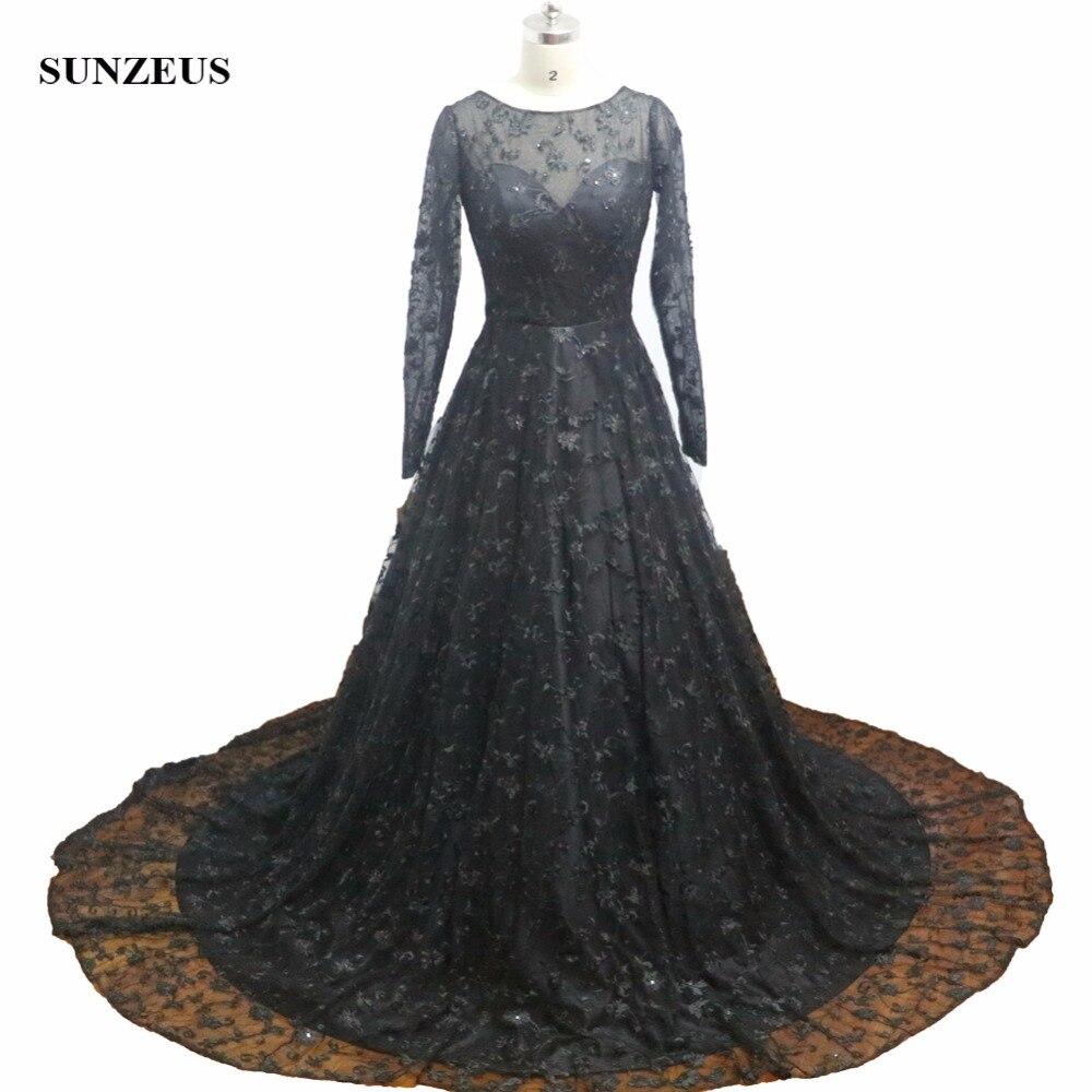 Robes de soirée formelles en dentelle noire 2019 a-ligne à manches longues femmes robes de soirée pour soirée nuit Court Train mère robe CM084