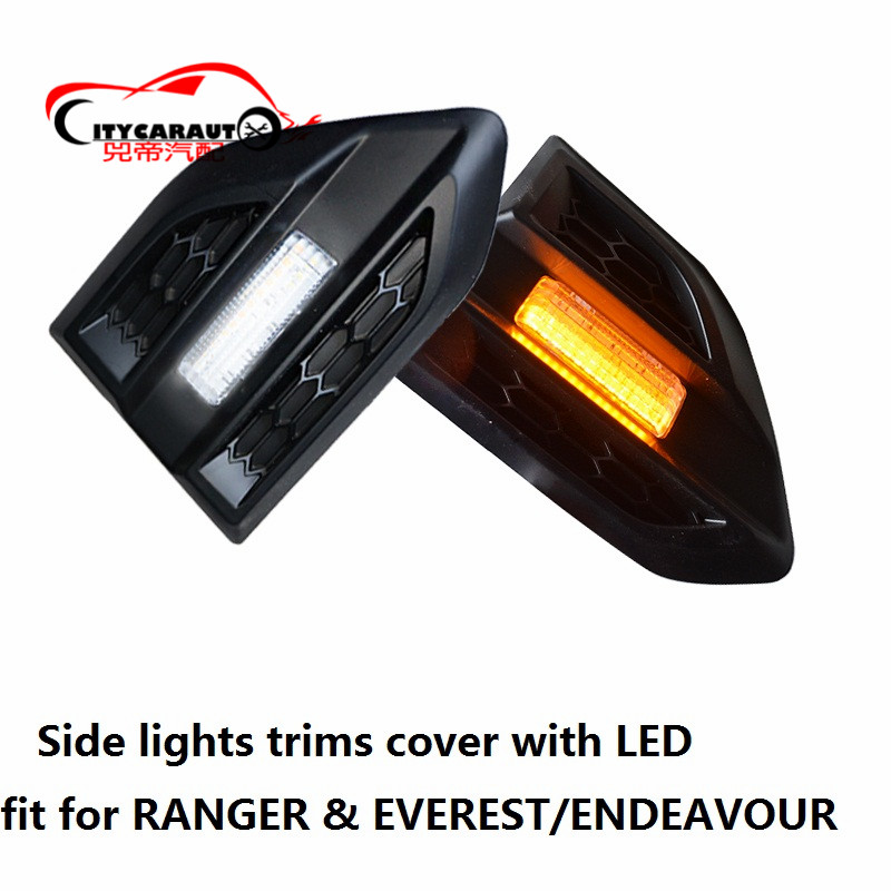 CITYCARAUTO EXTERIOR SIDE LAMPS TRIMS COVER WITH ELD Lamp Hoods FIT FOR FORD RANGER T6 T7 EVEREST ENDEAVOUR CAR SIDE LAMP HOODS ranger side stripe graphic vinyl sticker for ford ranger car decals