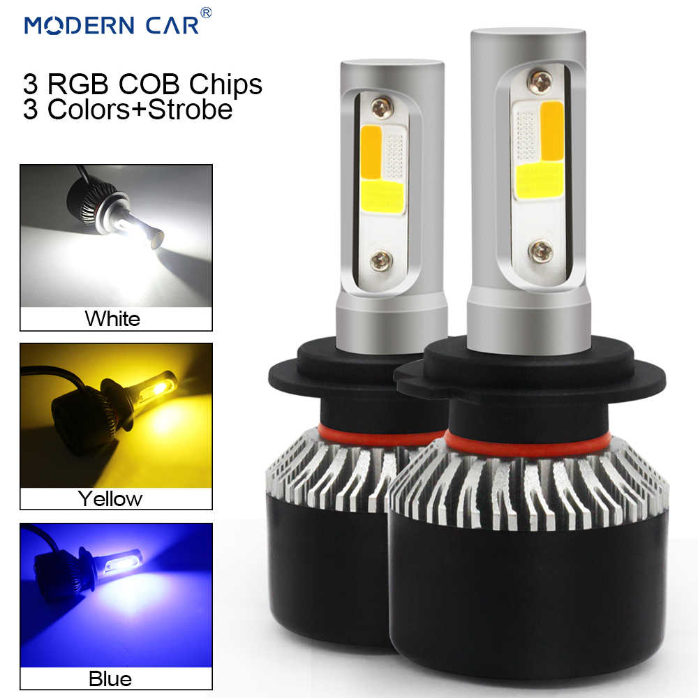 MODERN CAR H7 H11 H3 H8 9005 3Colors+Flash Strob RGB LED Headlamp Bulb COB 6000K White Blue Amber Headlights 72W Fog Light Bulbs