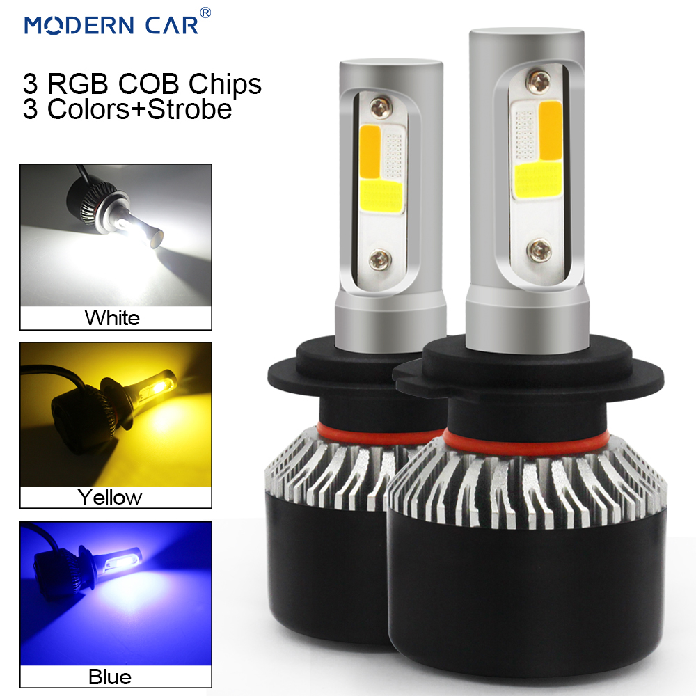 MODERN CAR H7 H11 H3 H8 9005 3Colors+Flash Strob RGB LED Headlamp Bulb COB 6000K White Blue Amber Headlights 72W Fog Light Bulbs