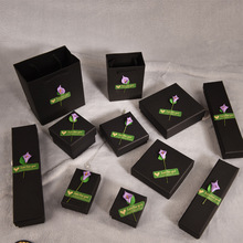 12 Pieces/Lot High Quality Black Jewelry Box Greenish Lily Flower Kraft Paper Favour Bulk Gift Boxes Bag Necklace Bracelet
