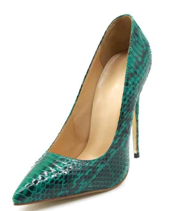Sıcak Avrupa Moda Seksi Bahar/Sonbahar Yeşil Yılan Derisi Ince Topuklu Ayakkabılar Sivri Burun Slip-On kadın ayakkabısı Sığ Bayanlar pompaları