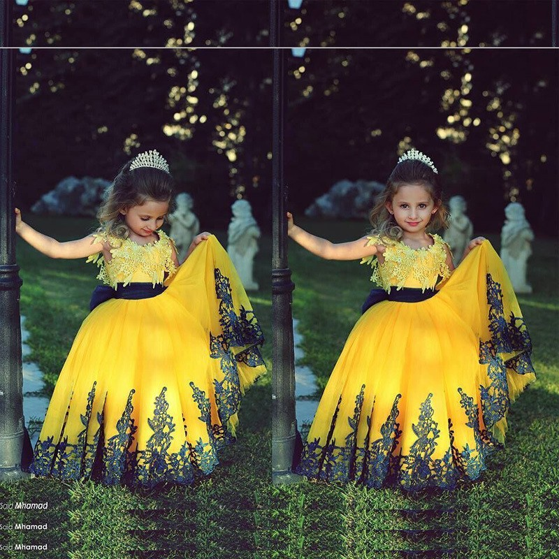1a75fa318 Girls Wedding Party Flower Girl Dress Floral Clothes Princess Gowns  Sleeveless Girl Yellow Ball Gown Evening Dresses HW2103