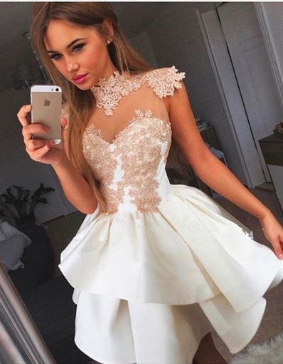Beautiful High Neck Lace Applique Tiered Satin Homecoming Dresses 2019 Sleeveless Party Dresses Vestidos De Graduacion