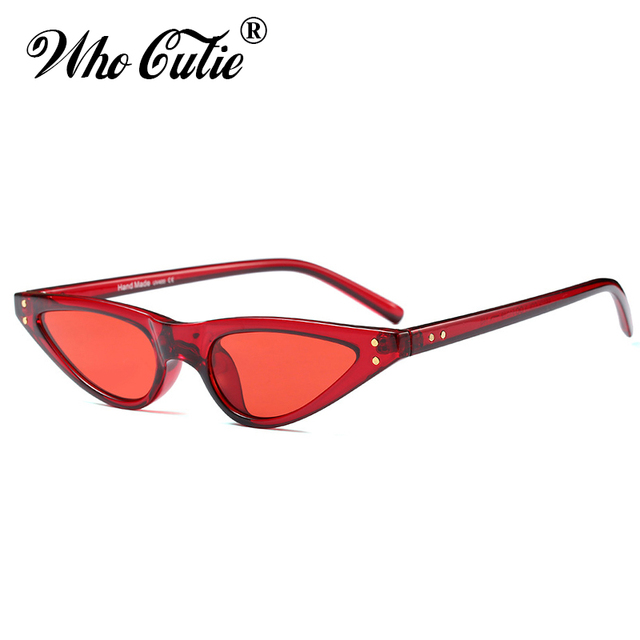d6ee8404e48 WHO CUTIE 2018 Small RED Sunglasses Cat Eye Women Brand Design Cateye Frame  Retro Skinny Triangle Slim Sun Glasses Shades OM520B