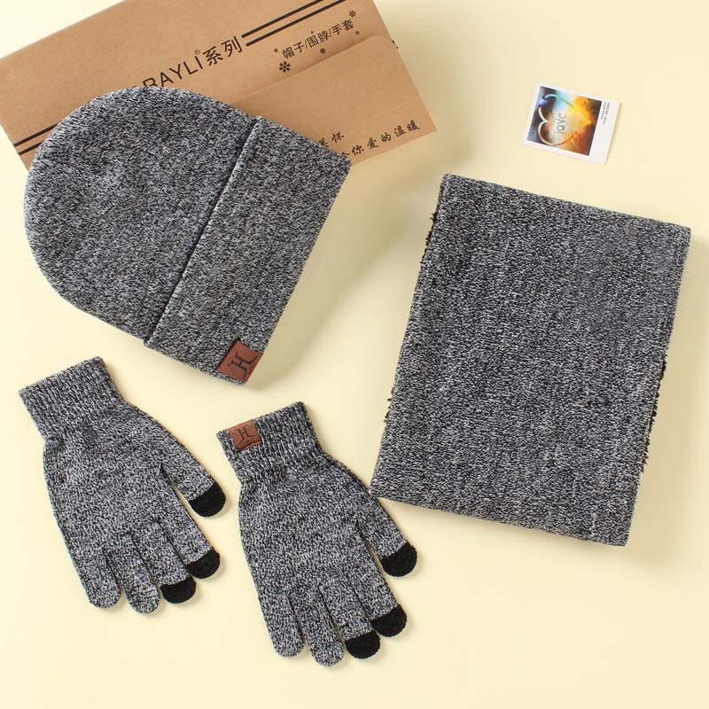 Fashion A Set Of Men Women Winter Hats Scarves Gloves Cotton Knitted Hat Scarf Set For Male Female Winter Accessories 3 Pieces