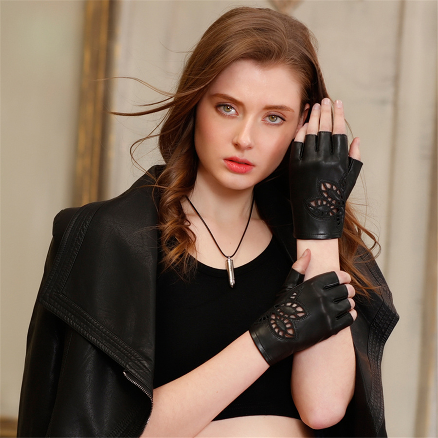 Half Refers To The Real Leather Gloves Female Finger Carved Hollow Leather Gloves Spring And Autumn