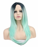 QQXCAIW Long Straight Cosplay Women Costume Party Black To Green Ombre 68 Cm Synthetic Hair Wigs