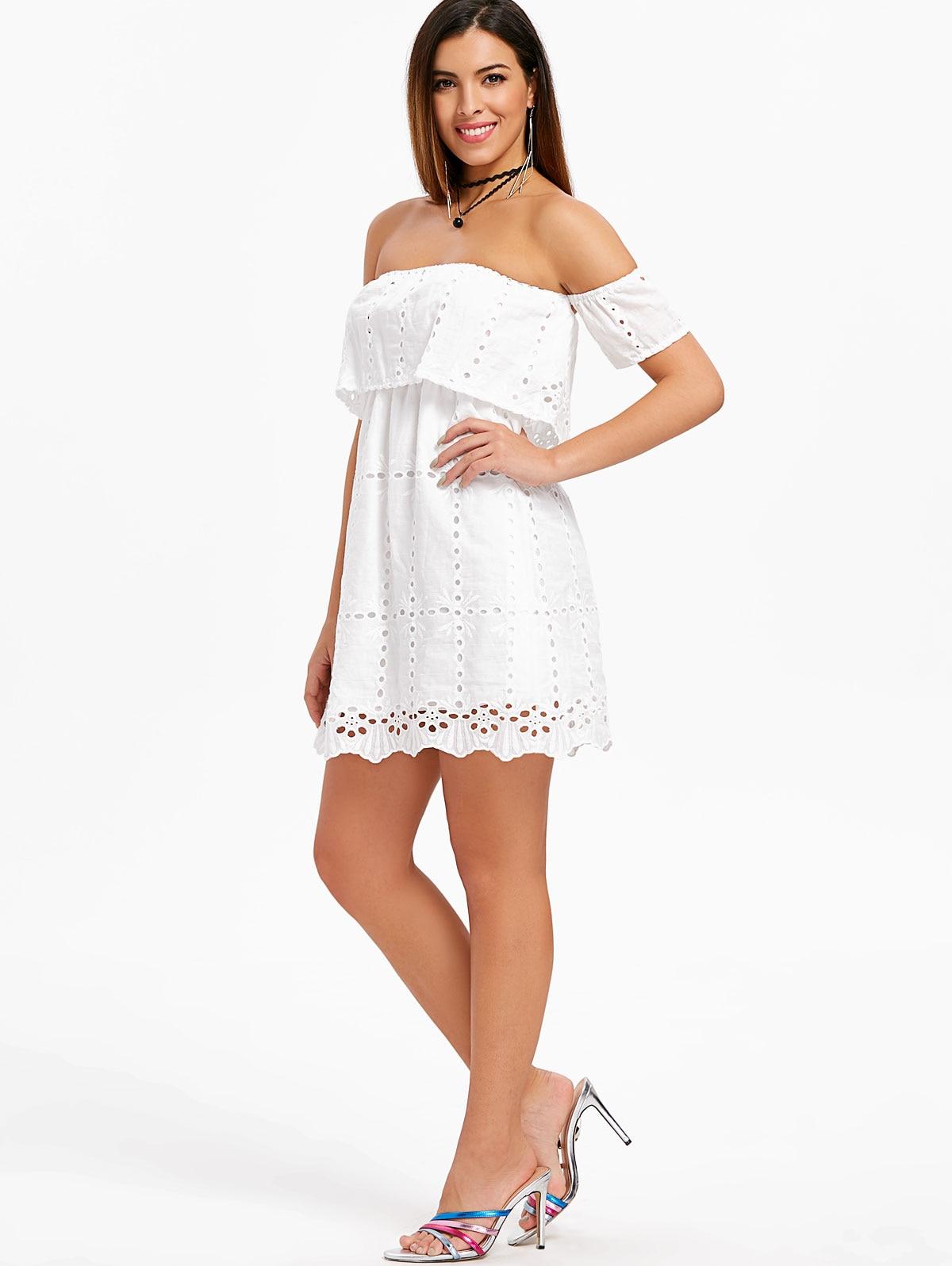 VESTLINDA Elastic Waist Hollow Out Off The Shoulder Dress Women Summer 2018 Short Mini White Dress Robe Femme Ladies Sun Dess