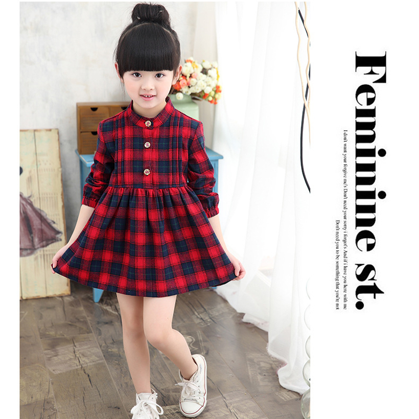 bfd97c7e82b Teenage Girls Dresses 2017 Spring Autumn Princess Girls Dress Long Sleeve Toddler  Dress Plaid Kids Costume Robe Fille-in Dresses from Mother   Kids on ...