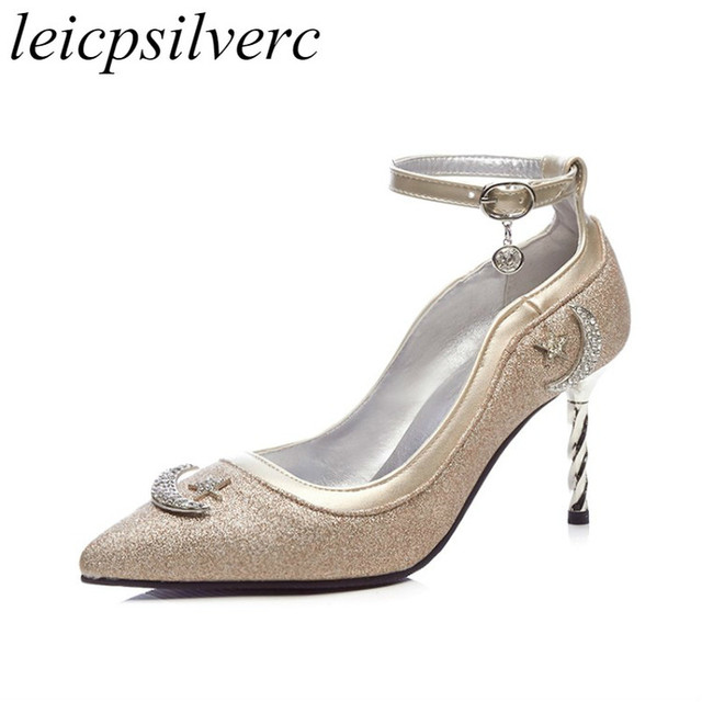 Women Pumps High Heel Shoe Spring Autumn 2018 Sexy New Fashion Pointed Toe  buckle Crystal Casual Party Wedding Office Black Gold 5726b2fa359c
