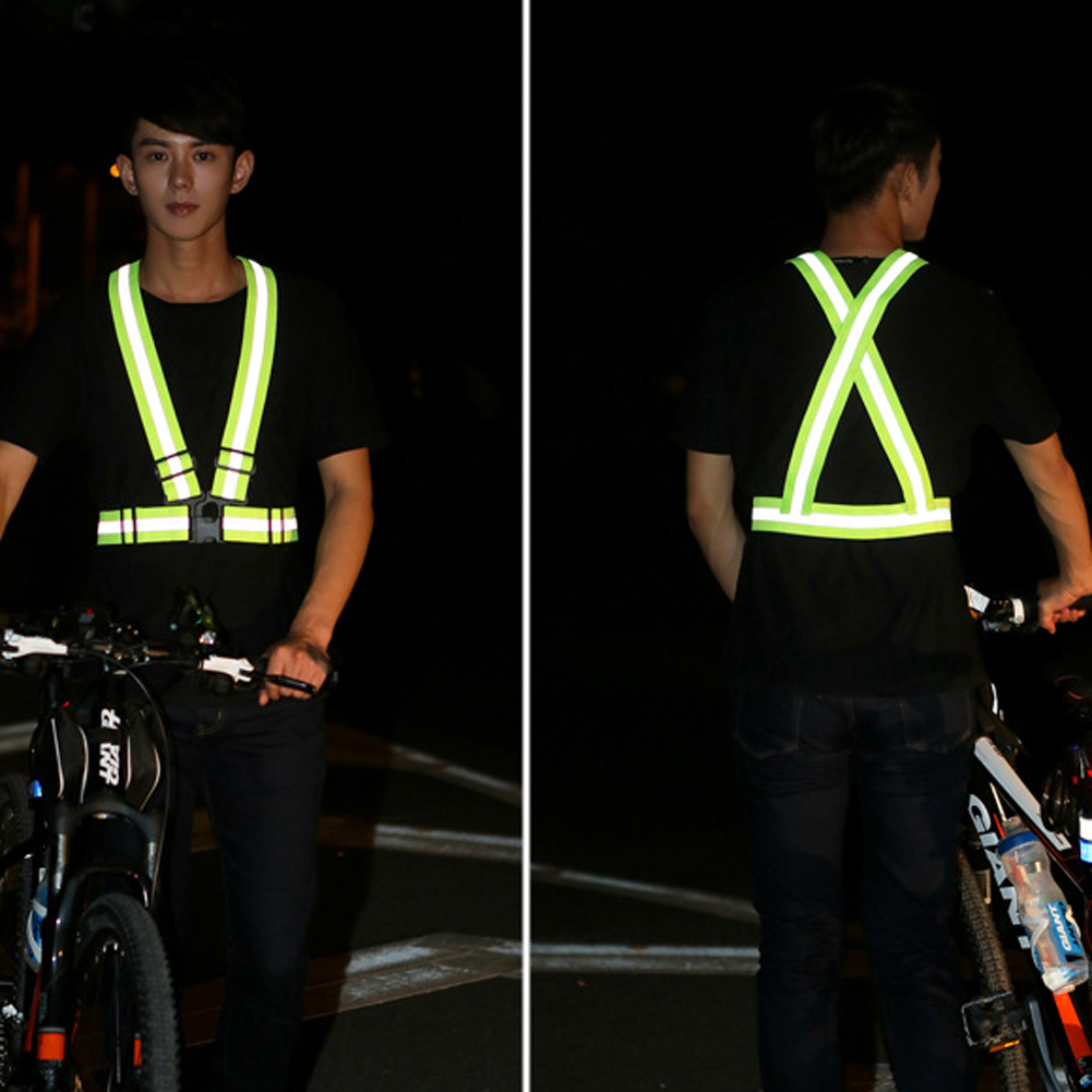 Cycling Vest Nice Cycling Vest Led Light Reflective Night Running Riding Safety Harness Outdoor Sports Strips Belt Bicycle Universal Bike Supplies