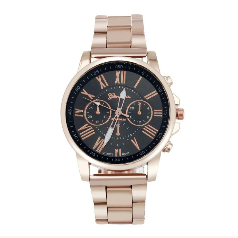 Clock Geneva Brand Watch Roman Numerals Quartz Stainless Steel Dial Wristwatch Men Casual Women Ladies Watches Relogio Feminino bgg brand creative two turntables dial women men watch stainless mesh boy girl casual quartz watch students watch relogio