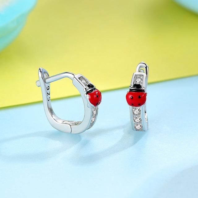 Silver Earrings with Enamel Ladybird