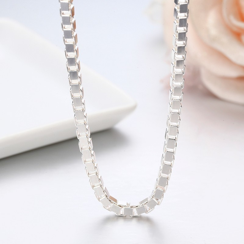 Image 5 - 7Size Available Real Pure 925 Sterling Silver Box Chain Necklace  Women Men Jewelry collier kolye collares off white ketting 3mmketting  manketting womenketting 925