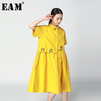 EAM 2018 New Summer Round Neck Short Sleeve Yellow Metal Ring Split Joint Loose Big