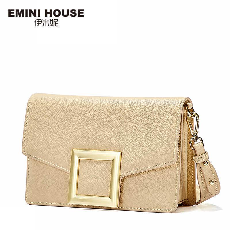 Эмини дом квадратной пряжкой Crossbody сумки для Для женщин Роскошные Сумки Для женщин сумки дизайнер Разделение кожа Сумка