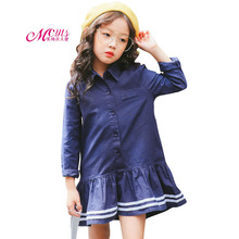 Children Girls Dress College Style 2018 New Spring Autumn Long Sleeve Dresses for School Girls Kids Clothes 4 6 8 10 12 Years kids dresses for girls sweaters 2017 new autumn cotton sweater dress for girls clothing school kids clothes 10 11 12 13 14 years