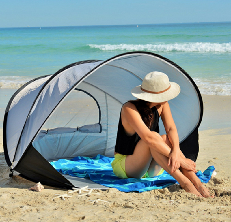Beach tent sunscreen sunshade automatic outdoor speed open collapsible fishing double tents c&ing tent & Beach tent sunscreen sunshade automatic outdoor speed open ...